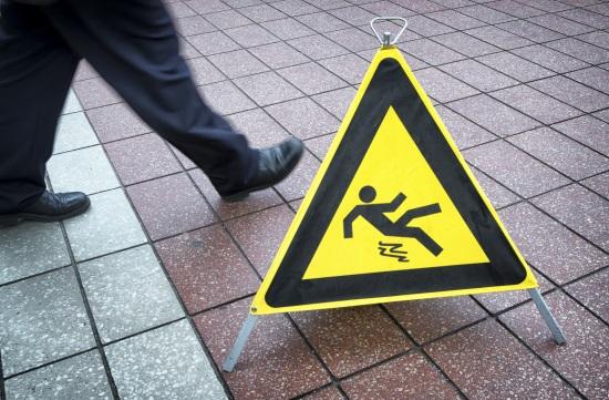 floor sign on a wet floor