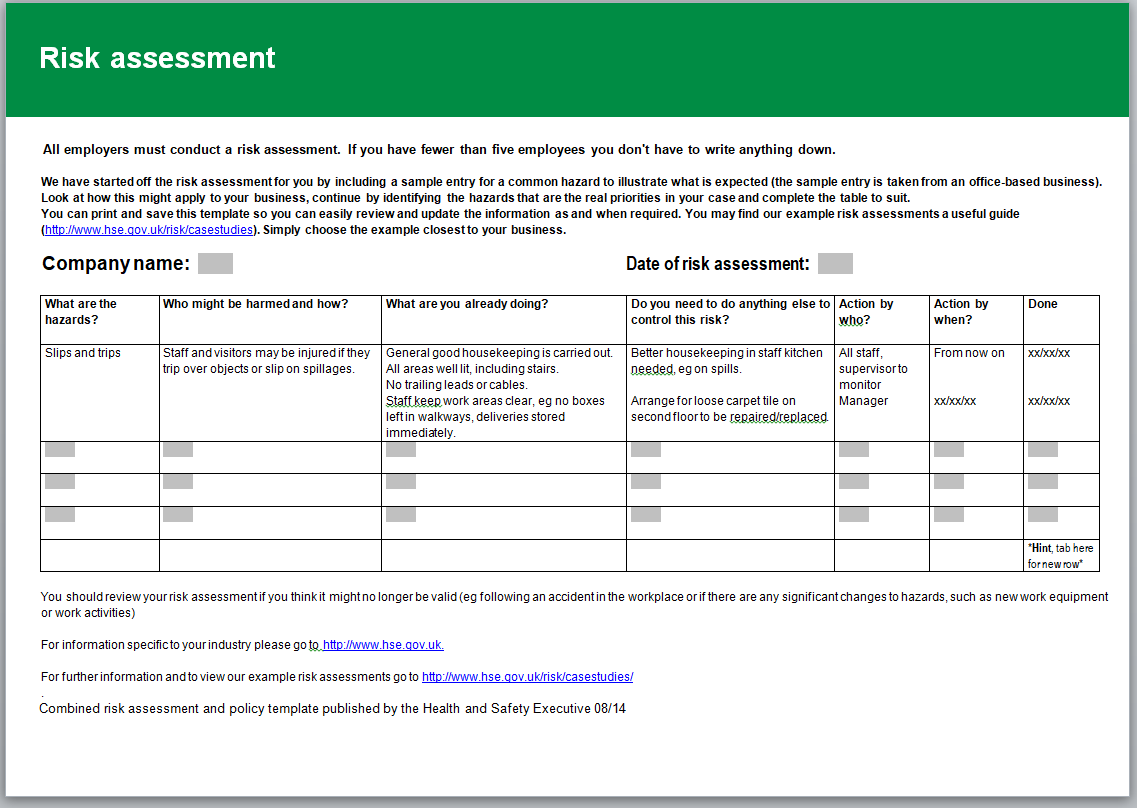 HSE risk assessment template