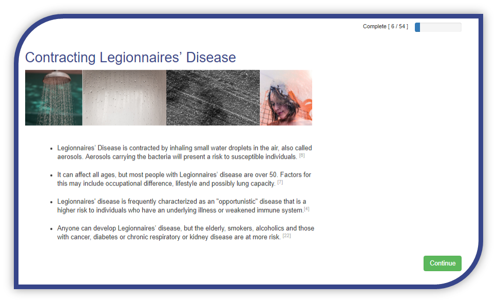 Screenshot Contracting Legionnaires' Disease - Online Legionella Training