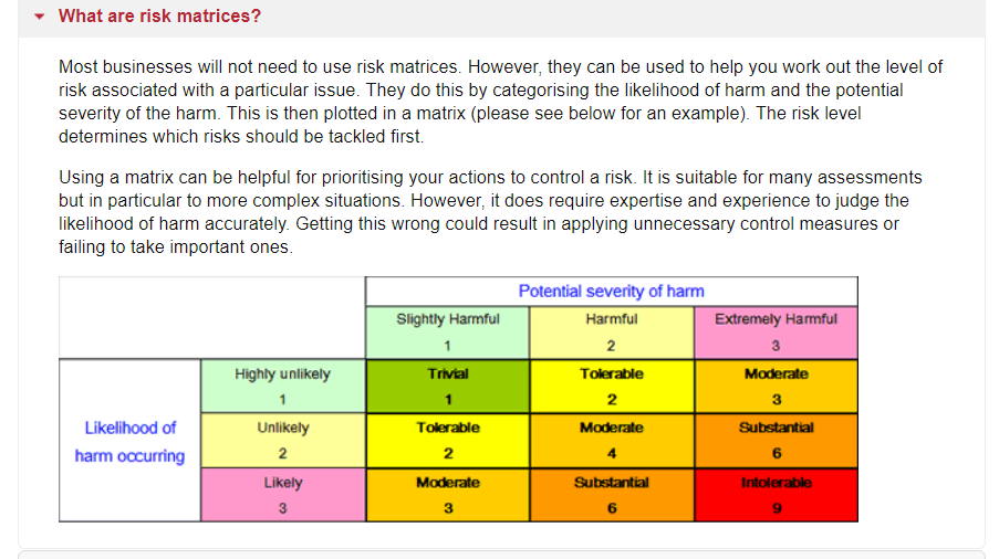 risk matrix risk score hse website screenshot